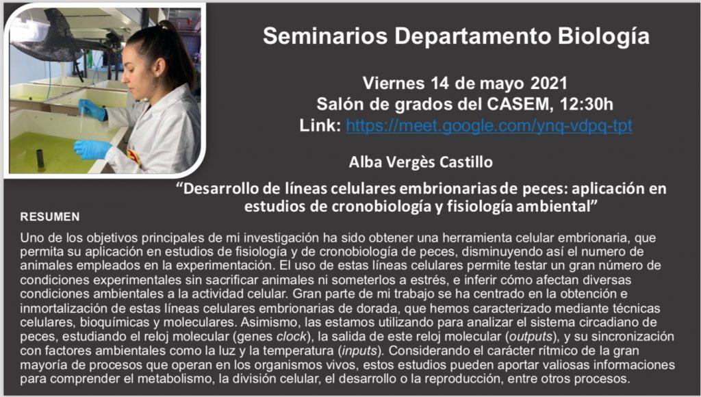 Este viernes 14 de mayo, nueva charla-seminario de investigadores del Departamento